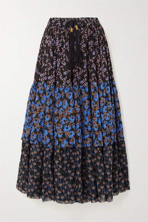 Tiered Printed Cotton-voile Maxi Skirt - Black