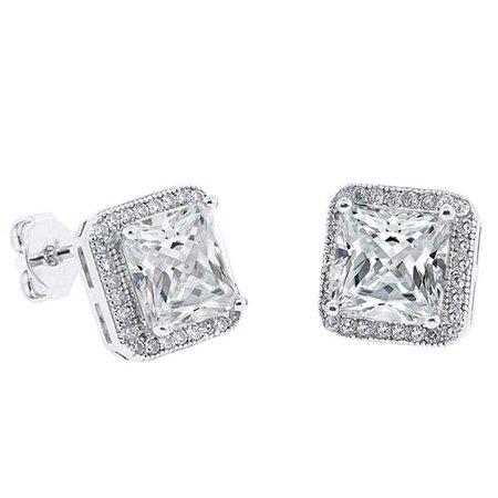 Cate & Chloe - Norah 18k White Gold Princess Cut CZ Halo Stud Earrings, Sparkling Cluster Silver Stud Earring Set w/ Solitaire Round Cut Diamond Crystals, Wedding Anniversary Jewelry MSRP - $150 - Walmart.com - Walmart.com