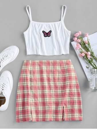 [32% OFF] 2020 ZAFUL Butterfly Embroidered Crop Camisole And Plaid Slit Skirt Set In LIGHT PINK | ZAFUL
