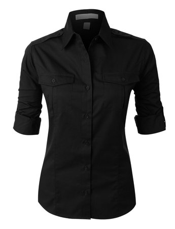 Black button-up shirt blouse