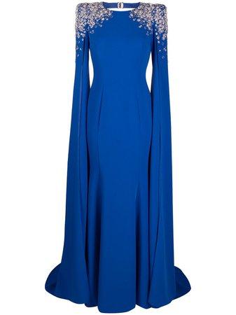 Jenny Packham embellished-shoulder cape-style gown