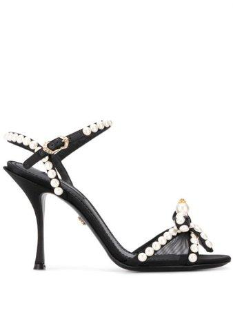 Dolce & Gabbana Pearl-Embellished Sandals CR0964AX086 Black | Farfetch