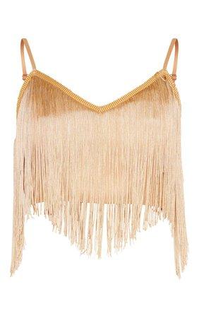 Gold Tassel Trim Sleeveless Crop Top | Tops | PrettyLittleThing