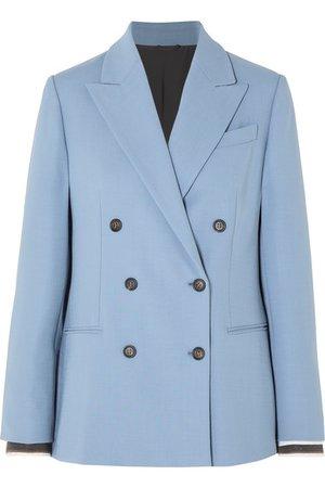 Brunello Cucinelli | Double-breasted wool-blend blazer | NET-A-PORTER.COM