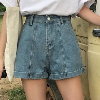 High-Waist Denim Shorts