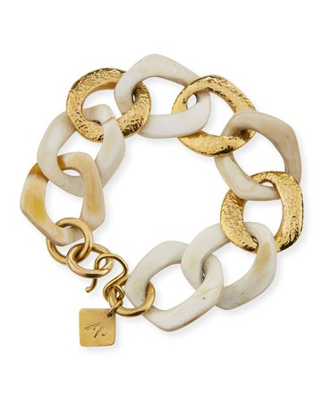 Ashley Pittman Salama Light Horn & Bronze Link Bracelet