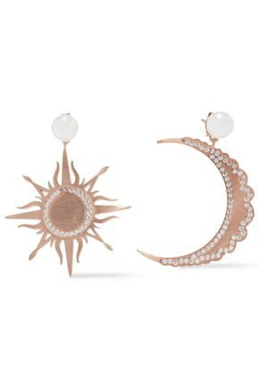 Moon And Sun brushed 18-karat rose gold-plated, faux pearl and crystal earrings | AAMAYA by PRIYANKA | Sale up to 70% off | THE OUTNET