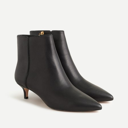 J.Crew: Fiona Kitten-heel Ankle Boots In Leather For Women in Black