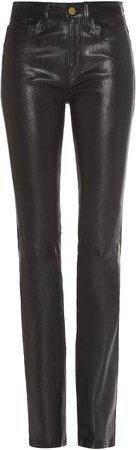 Leather Slim-Leg Pants