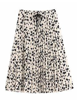 'Doyle' Leopard Print Pleated Midi Skirt - Goodnight Macaroon