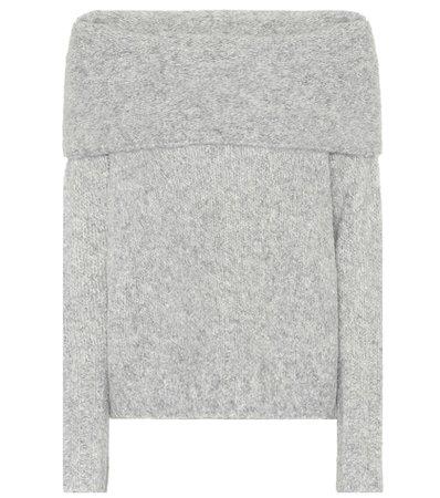 Alpaca off-the-shoulder sweater