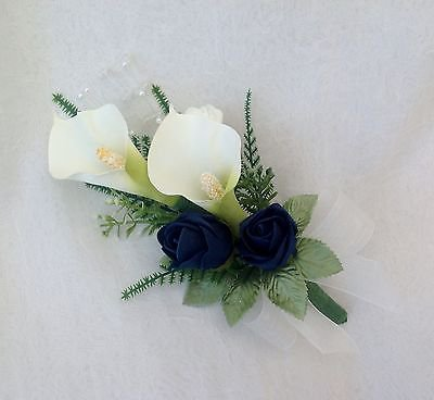 Navy Blue and White Corsage