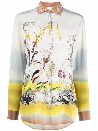 Etro Heron Print Silk Blouse - Farfetch