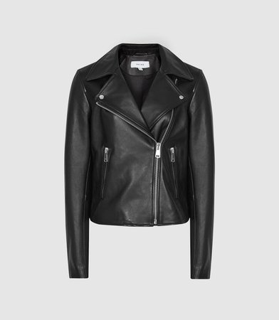 Geo Black Leather Biker Jacket – REISS