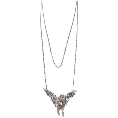Roberto Cavalli Metal Feather Charms Pendant Necklace For Sale at 1stdibs