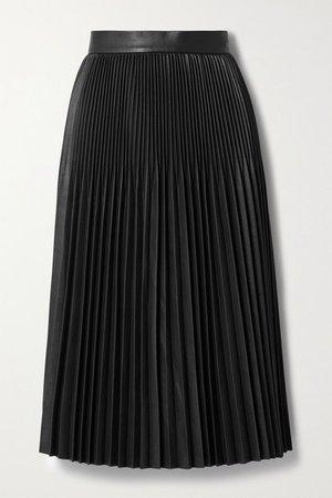 Pleated Faux Leather Midi Skirt - Black