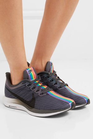 Gray Zoom Pegasus Turbo Be True mesh sneakers   Nike   NET-A-PORTER