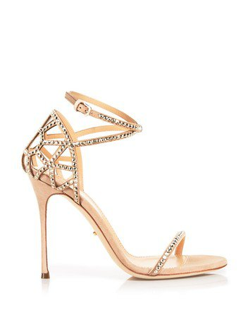 Sergio Rossi Champagne 'bon Ton' Crystal High Sandals Size US 10 Regular (M, B) - Tradesy
