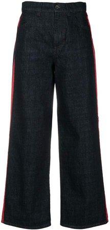 Stripe Detail Wide Leg Jeans