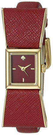 Amazon.com: kate spade new york Women's 1YRU0902 Kenmare Gold-Tone Stainless Steel Watch with Red Leather Band: Clothing