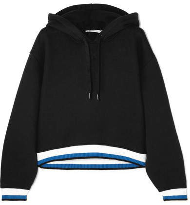 Cropped Striped Cotton-blend Hooded Top - Black
