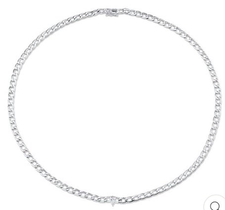Silver Choker Necklace Pear Diamond