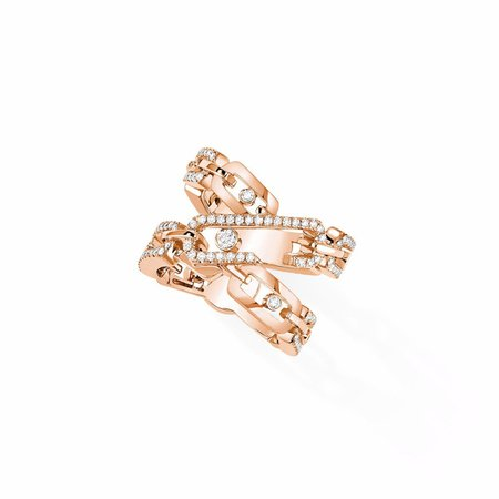 Bague Move High Jewelry Addiction Semi Pavée : Bague en or rose | Messika
