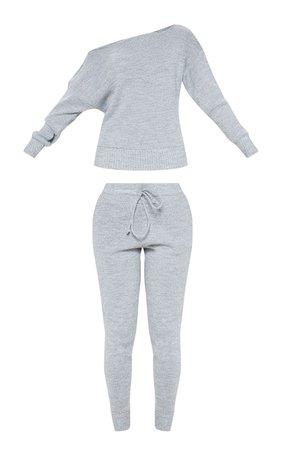 Grey Jogger Jumper Knitted Lounge Set | PrettyLittleThing