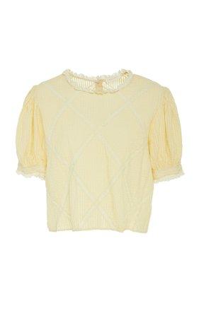 LoveShackFancy Addie Lace-Trimmed Cotton-Gauze Top