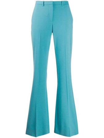 Shop blue Theory flared mid-rise trousers with Express Delivery - Farfetch