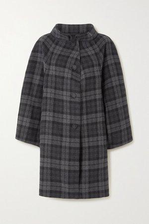 Checked Wool-blend Coat - Black