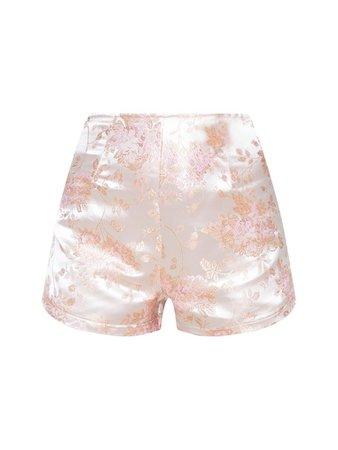 satin pink floral shorts