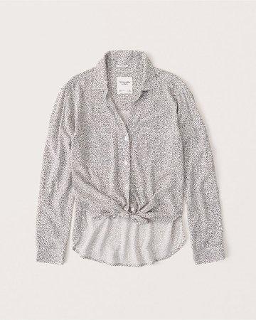Womens Long-Sleeve Tie-Front Shirt | Womens New Arrivals | Abercrombie.com