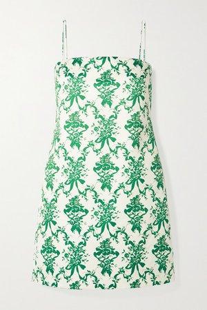 Miu Floral-print Faille Mini Dress - Ivory