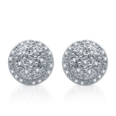 LIMITED TIME SPECIAL! 1/10 CT. T.W. Genuine Diamond 9.3 mm Stud Earrings in Sterling Silver - JCPenney