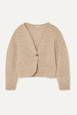 Taupe + NET SUSTAIN ribbed wool-blend cardigan   aaizél   NET-A-PORTER