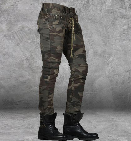 Double Camo Lace-Up Jeans : Delicious Boutique