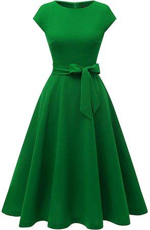 Amazon.com: DRESSTELLS Women's Vintage Tea Dress Prom Swing Cocktail Party Dress with Cap-Sleeves DarkGreen M: Clothing