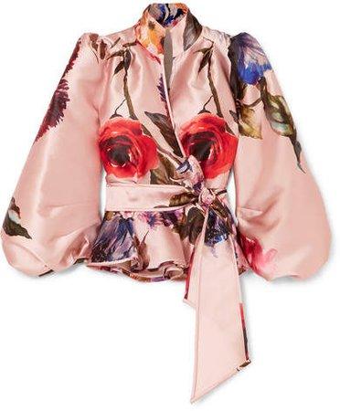 Anna Mason - Stella Floral-print Satin Wrap Blouse - Pink