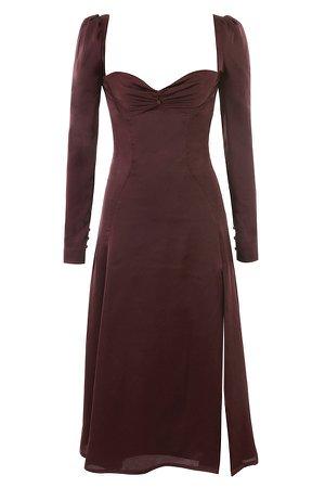 Clothing : Midi Dresses : 'Arlinda' Raisin Satin Puff Sleeve Midi Dress