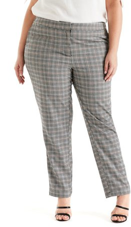 Check-In Plaid Straight Leg Pants