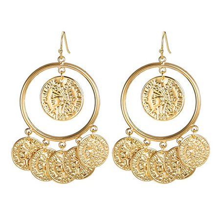 Amazon.com: FAMARINE Vintage Tribal Chandelier Portrait Coins Hoop Drop Earrings for Women Costume Jewelry (Silver): Clothing