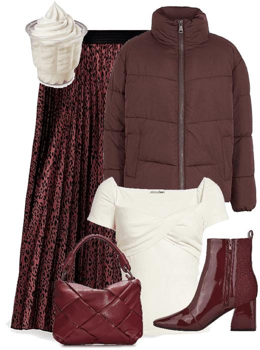 brownish maroon and white chic