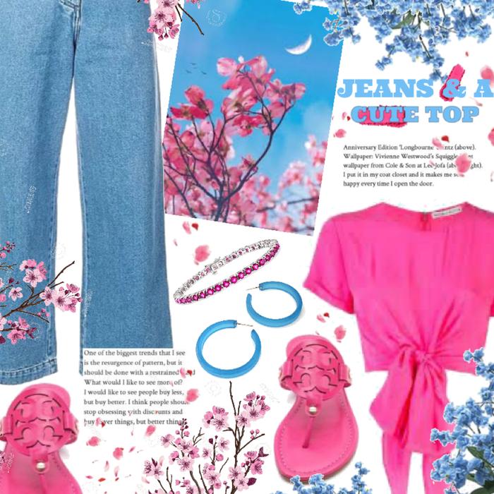 jeans & a cute top.
