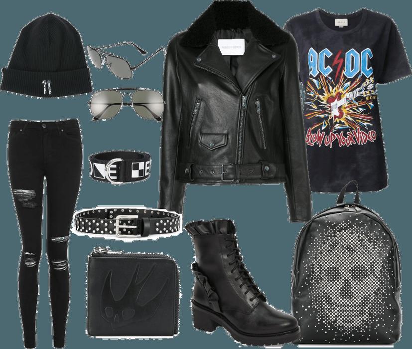 AC/DC T-shirt (All black set)