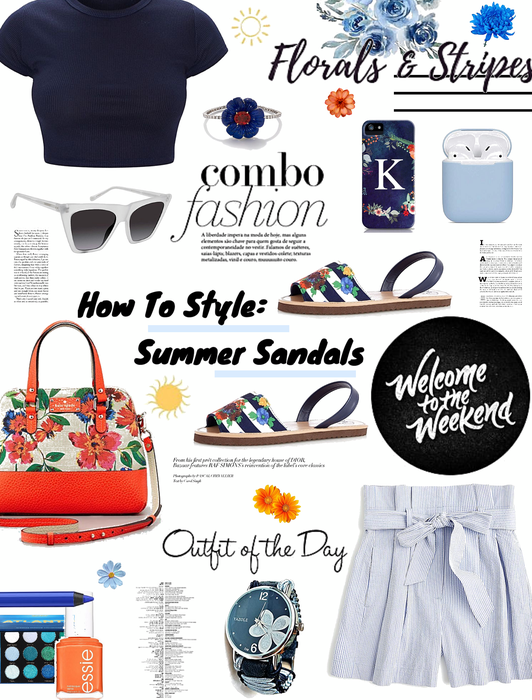 how to style summer sandals. stripes n florals