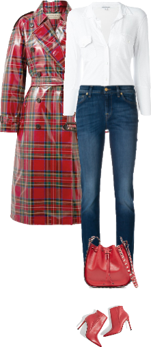 Casual outfit: Red - Denim