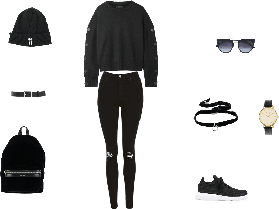 All black teenager look