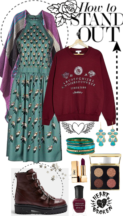 my burgundy Teal outfit