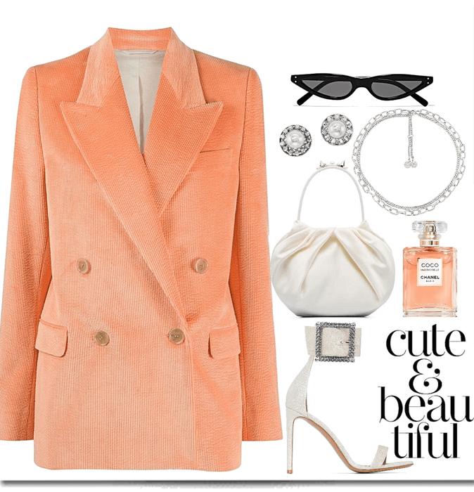 light orange, velvet blazer look